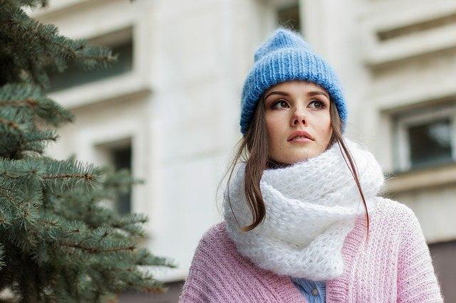 Vrouw met winterdip